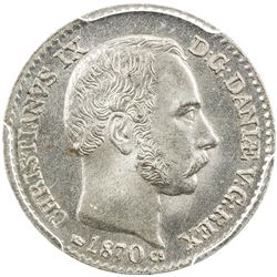 DENMARK: Christian IX, 1863-1906, AR 4 skilling, 1870. PCGS MS65