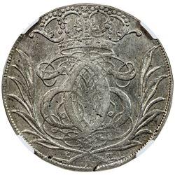 GLUCKSTADT: Christian V, 1670-1699, AR krone, 1693. NGC AU53
