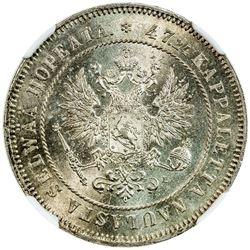 FINLAND: Nicholas II, Grand Duke, 1894-1917, AE 2 markkaa, 1906. NGC MS65
