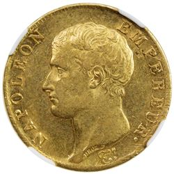FRANCE: Napoleon I, Emperor, 1804-1815, AV 40 francs, 1806-A. NGC AU58
