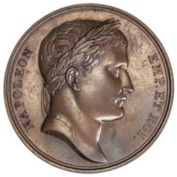 FRANCE: Napoleon I, Emperor, 1804-1814, AE medal, 1812. AU