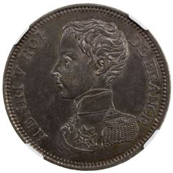 FRANCE: Henry V, Pretender, 1830-1883, AR 5 francs, 1831. NGC MS62