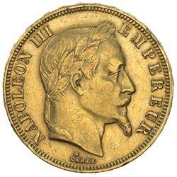 FRANCE: Napoleon III, 1852-1870, AV 50 francs (16.08g), Strasbourg, 1866-BB. VF