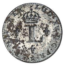 FRENCH COLONIES: Louis XV, 1715-1774, BI 2 sols (sou marque), 1742-H. UNC