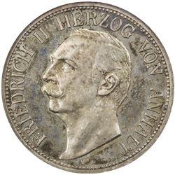 ANHALT-DESSAU: Friedrich II, 1904-1918, AR 3 mark, 1909-A. NGC PF63