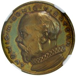 BAVARIA: Ludwig III, 1913-1918, AE 20 mark, 1913. NGC PF64