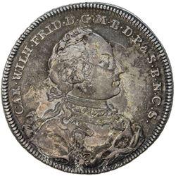 BRANDENBURG-ANSBACH: Karl Wilhelm Friedrich, 1729-1757, AR thaler, 1754. EF