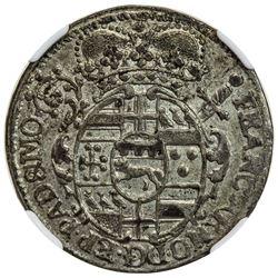 PADERBORN: Franz Arnold von Metternich, 1704-1718, AR 1/12 thaler, 1709. NGC MS61
