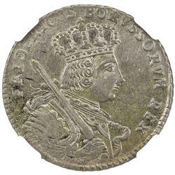 PRUSSIA: Friedrich II, 1740-1786, AR 18 groschen (tympf), Konigsberg, 1755-E. NGC AU