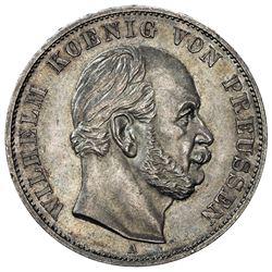 PRUSSIA: Wilhelm I, 1871-1888, AR thaler, 1871. AU-UNC