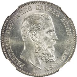 PRUSSIA: Friedrich III, 1888, AR 2 mark, 1888-A. NGC MS65