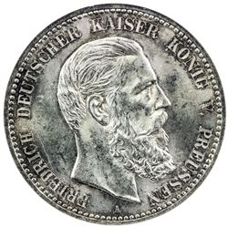 PRUSSIA: Friedrich III, 1888, AR 5 mark, 1888-A. NGC MS63