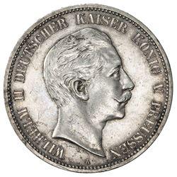 PRUSSIA: Wilhelm II, 1888-1918, AR 5 mark, 1888-A. AU