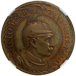 PRUSSIA: Wilhelm II, 1888-1918, AE 10 mark, 1913. NGC PF63