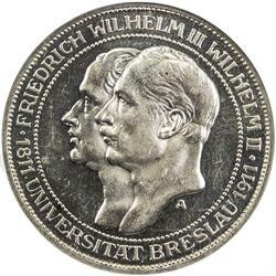 PRUSSIA: Wilhelm II, 1888-1918, AR 3 mark, 1911-A. NGC PF63