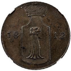 REUSS-EBERSDORF: Heinrich LI, Prince, 1806-1822, AE 4 pfennig, 1812. NGC MS64