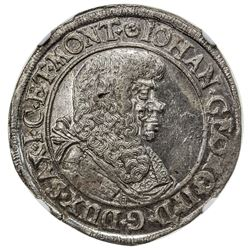 SAXE-ALBERTINE LINE: Johann Georg II, 1656-1680, AR 1/3 thaler, Dresden, 1673. NGC MS63