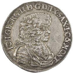 SAXE-ALBERTINE LINE: Johann Ernst, 1662-1683, AR 2/3 thaler (15.51g), 1675. EF