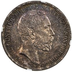 SCHWARZBURG-SONDERSHAUSEN: Gunther Victor, 1909-1918, AR 3 mark, 1909-A. NGC MS66