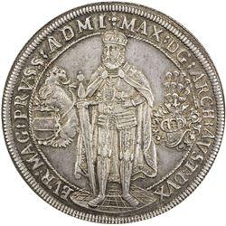 TEUTONIC ORDER: Maximilian I, of Austria, 1590-1618, AR thaler, Hall, 1603. NGC AU55