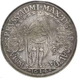 TEUTONIC ORDER: Maximilian I, of Austria, 1590-1618, AR double thaler, Hall, 1614. NGC AU58