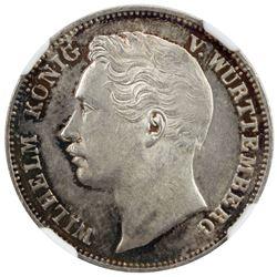 WURTTEMBERG: Wilhelm I, 1816-1864, AR 1/2 gulden, 1864. NGC MS63