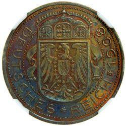 GERMANY: Kaiserreich, AE 25 pfennig, 1908. NGC PF63