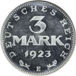GERMANY: Weimar Republic, 3 mark, 1923-E. NGC PF64