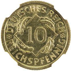 GERMANY: Third Reich, 10 pfennig, 1936-G. NGC MS65
