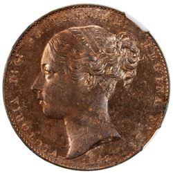 GIBRALTAR: Victoria, 1837-1901, AE quart, 1842. NGC MS63