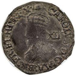 ENGLAND: Charles I, 1625-1649, AR shilling (5.52g), York. NGC AU53