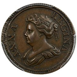 GREAT BRITAIN: Anne, 1702-1714, AE farthing, 1714. PCGS SP