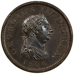 GREAT BRITAIN: George III, 1760-1820, AE penny, Soho mint, 1806. NGC MS64