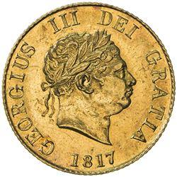 GREAT BRITAIN: George III, 1760-1820, AV 1/2 sovereign, 1817. AU