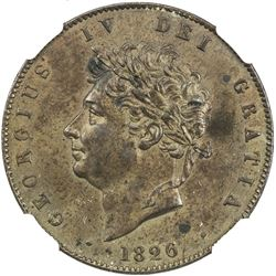 GREAT BRITAIN: George IV, 1820-1830, AE halfpenny, 1826. NGC MS61