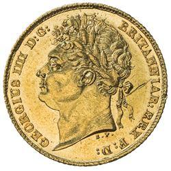 GREAT BRITAIN: George IV, 1820-1830, AV 1/2 sovereign, 1824. UNC