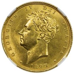 GREAT BRITAIN: George IV, 1820-1830, AV sovereign, 1825. NGC MS63