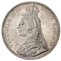GREAT BRITAIN: Victoria, 1837-1901, AR crown, 1890. AU