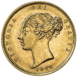 GREAT BRITAIN: Victoria, 1837-1901, AV 1/2 sovereign, 1872. UNC