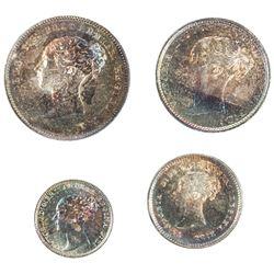 GREAT BRITAIN: Victoria, 1837-1901, 4-coin set, 1884. UNC