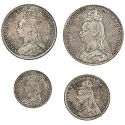 GREAT BRITAIN: Victoria, 1837-1901, 4-coin set, 1889. UNC