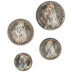 GREAT BRITAIN: Victoria, 1837-1901, 4-coin set, 1891. UNC