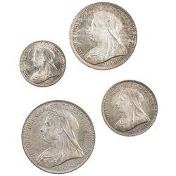 GREAT BRITAIN: Victoria, 1837-1901, 4-coin set, 1893. UNC