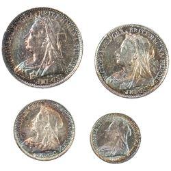 GREAT BRITAIN: Victoria, 1837-1901, 4-coin set, 1898. UNC