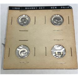 GREAT BRITAIN: Edward VII, 1901-1910, 4-coin set, 1902. UNC