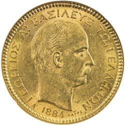 GREECE: George I, 1863-1913, AV 20 drachmai, 1884-A. NGC AU58
