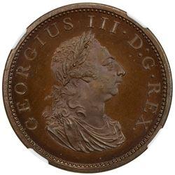 IRELAND: George III, 1760-1820, AE penny, Soho mint, 1805. NGC PF66