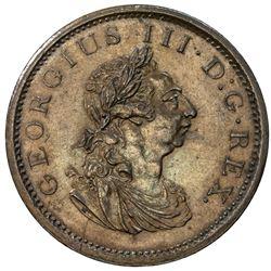 IRELAND: George III, 1760-1820, AE penny, Soho mint, 1805. UNC