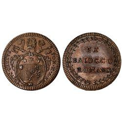 PAPAL STATES: Pius VI, 1775-1799, AE baiocco, year XI (1785). UNC