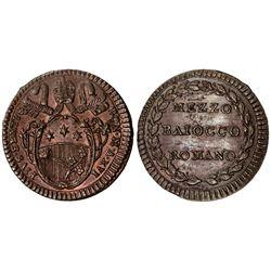 PAPAL STATES: Pius VI, 1775-1799, AE 1/2 baiocco, year XVI (1790). UNC